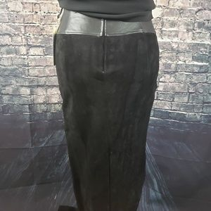 Cedars Skirts - Cedars Vintage Black Suede/Leather Skirt, Size 14